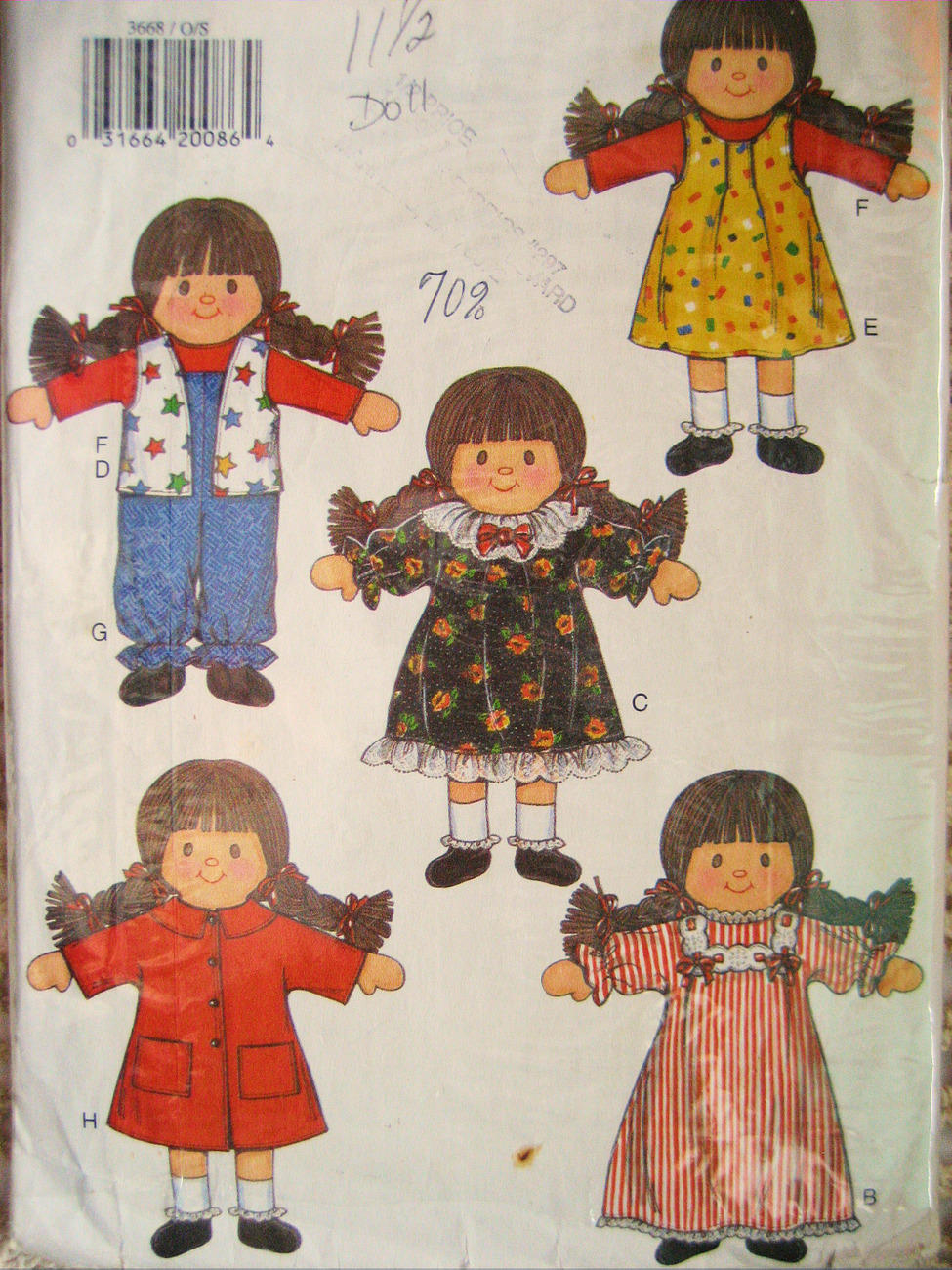 Butterick 3668 Vintage Stuffed Doll Clother in Carrying Case 11.5 Inches Pattern