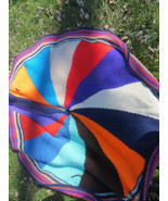 retro 60s hippie  Boho   huge hand crochet acrylic  colorful  afghan  ro... - $56.50