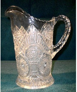 Crystal PITCHER   Clear   Patterned  1930s-40's - $109.00