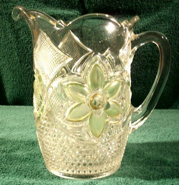 Crystal PITCHER   Light Green Frosted Leaf   1930s-40's
