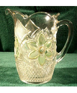 Crystal PITCHER   Light Green Frosted Leaf   1930s-40's - $129.00
