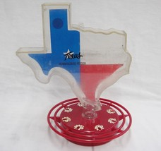 Hummingbird Nectar Feeder Red Base Figural State of Texas Plastic Top Tu... - $21.77