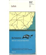 "Suffolk Map - 1/2"" Contoured Great Britain 21 - John Bartholomew & Sons ... - $0.97"