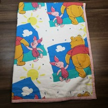 VTG Disney Winnie The Pooh & Piglet Twin Bed Comforter Blue Cloud Quilt ... - $98.99