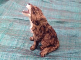 Brown and white sitting howling coyote Animal Figurine - recycled rabbit fur