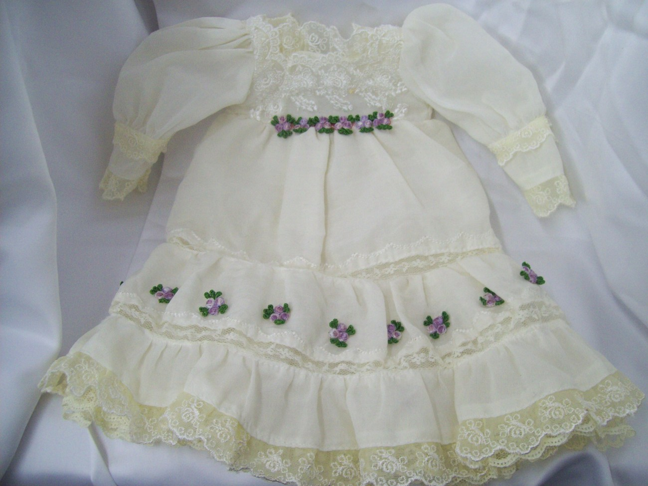 Victorian Style Doll Outfit Includes Dress, Bloomers, Shoes, Bows and Flower Hea