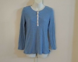 Charter Club Women's Long Sleeve 1/4 Buttons Striped Crulean Sky Blue To... - $29.71