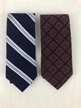 Mens Tie Lot Tommy Hilfiger Diagonal Stripe Geometric Print Blue - $14.97
