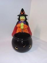 MARY ENGELBREIT Ceramic Witch Halloween Cauldron Black Pot Candle Candy ... - $34.60