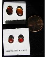 2 Pair Amber Cab Stud earrings -Set in Sterling Silver - $5.00