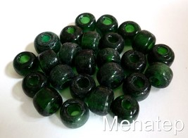 25 5 x 9 mm Czech Glass Roller/Crow Beads: Green Emerald - $0.98