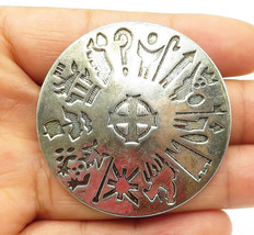 IRELAND 925 Silver - Vintage Traditional Etched Pattern Round Brooch Pin... - $62.18