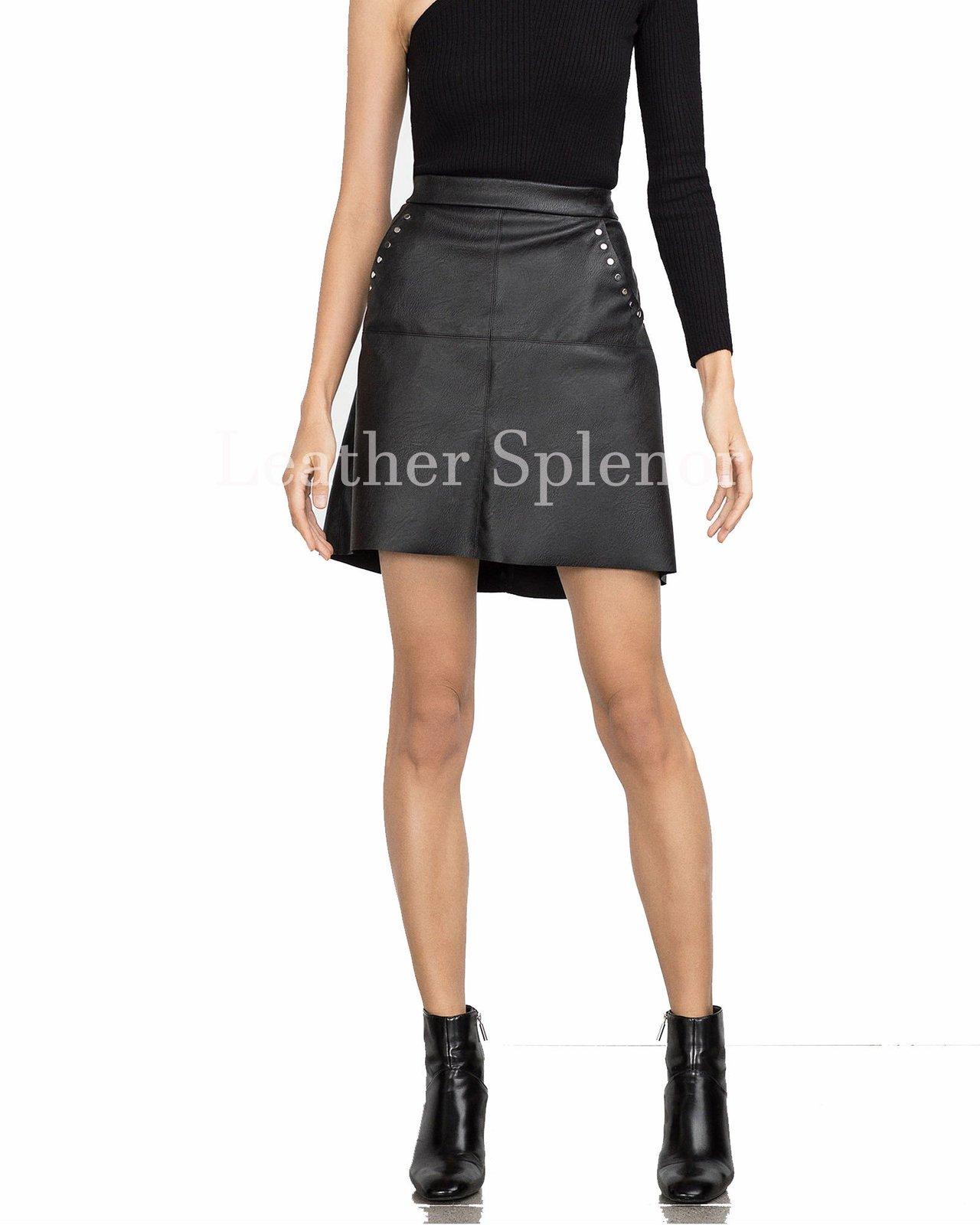 Sophisticated Women Mini Leather Skirt