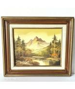 Vintage Framed Mountain Landscape  Oil Painting on Canvas Signed Wells - $77.39