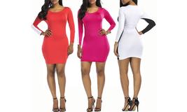 Women's Basic Long Sleeve Round Neck Midi Bodycon Dress  - $19.99