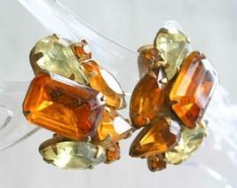 Honey & Lemon Prong-set Rhinestone Gold-tone Clip Earrings 1950s vintage... - $14.20