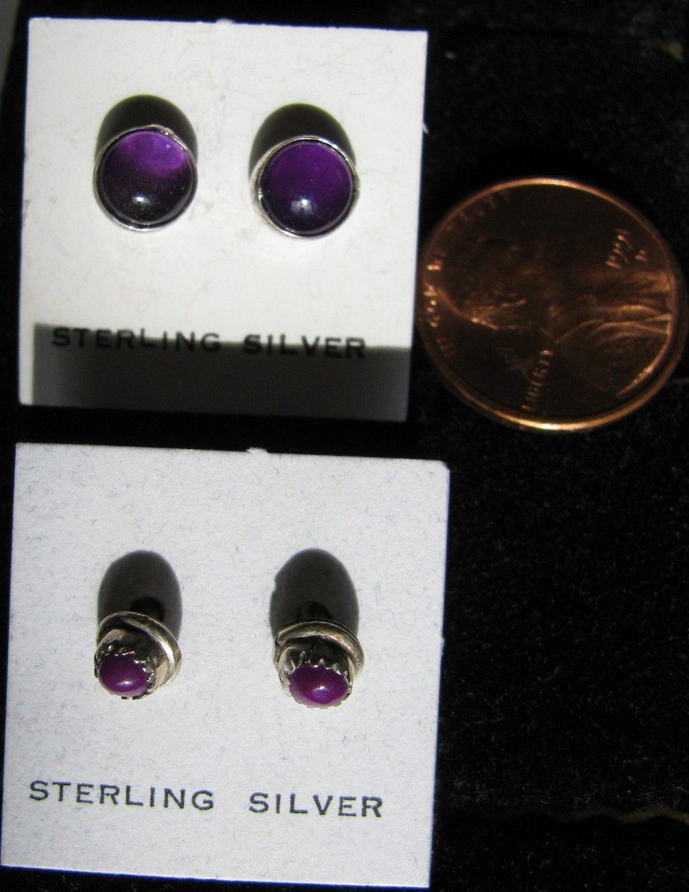 2 Pair Purple/Amethyst stud Earrings -set in Sterling Silver