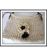 Cream and brown Flower Bag - $29.00
