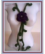 107 PURPLE ROSE AND LEAVES/NECKLACE/LARIAT/SCARF/JEWELRY/CROCHET/HANDMAD... - $19.75