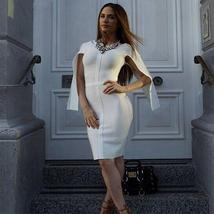 Celebrity Party White Batwing Sleeve Bandage Dress image 5