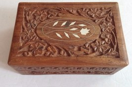 Vintage Carved Wooden Inlaid Floral Jewelry Box India Trinket Box Storag... - $12.19