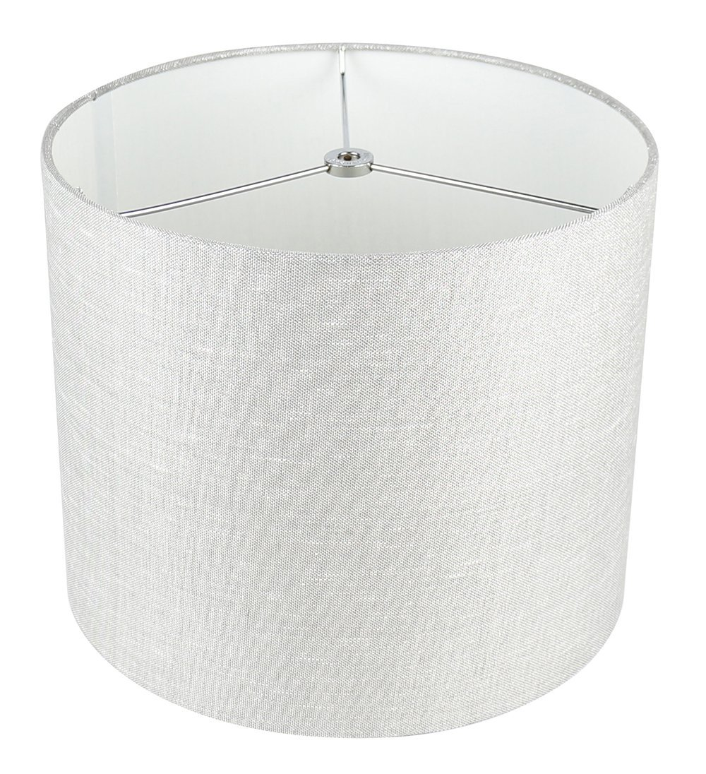 Urbanest Classic Drum Metallic Fabric Lampshade, 12-inch by 12-inch by 10-inch,  image 2