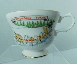 Whitehorse Yukon Bone China Tea Cup, Footed Rosina, Dog Sled, Made in En... - $13.85