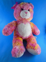 """Pink Teddy Bear with yellow varigated plush16"""" heart Nose & Tummy Build A Bear - $14.84"""