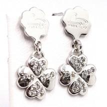 Drop Earrings Silver 925, Four-Leaf Clover Plates, Zircon, by Maria Ielpo image 1