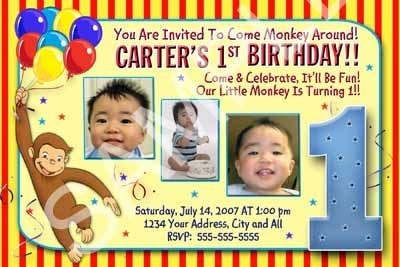 Primary image for Curious George Boys Photo Birthday Party Invitations