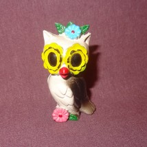 "Vintage Owl Rubber Figurine 2"" Flowers Miniature Yellow Black Gray - $8.99"