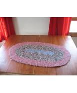 Vintage handmade braided rag area rug Pink Shab... - $20.00
