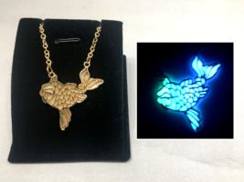 KOI Fish GLOW in the DARK Silver Pendant Gold Filigree Pendant Charm Nec... - $14.20