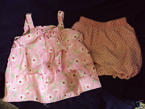 Primary image for 2 PIECE TOP/BLOOMERS- 18 MO-PINK W/RED/WHITE FLOWERS
