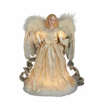 "Kurt Adler 10 Light 12"" Ivory Angel w/FEATHER Wings Xmas Tree Topper Decoration - $34.88"