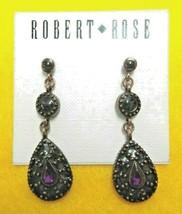 Robert Rose Bronze Tone And Purple Stone Dangle Earrings Signed Vintage - $23.99