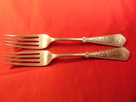 "Two (2), 7 1/4"" Nickle Silver Dinner Forks, Unknown English Hallmarks. O... - $9.99"