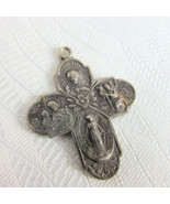 Vintage Sterling Silver HMH 4 Way Cross Medal Pendant Cruciform Scapular... - $27.00