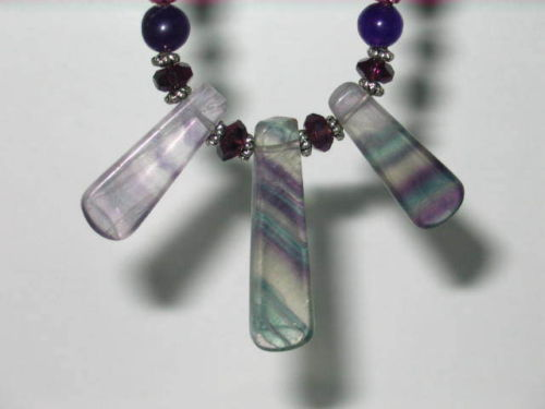 Beautiful Handmade Flourite Necklace and Earring Set