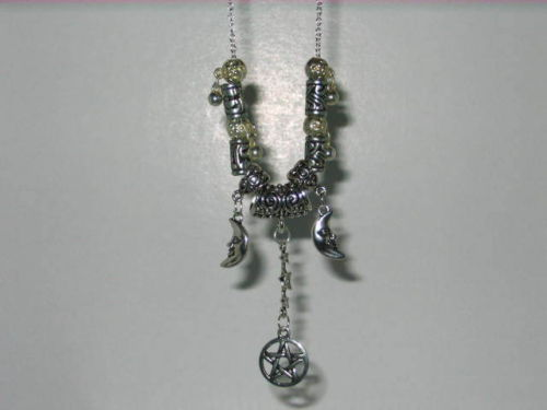 Handmade Wiccan Triple Moon Charm Amulet with Earrings
