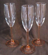 "3 CHAMPAGNE LONG STEM  "" CHAMPAGNE "" COLORED FLUTED GLASSES. - $11.89"