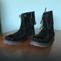 UGG KAYSA 1003830 Womens Sz 7 Black Suede Fringe Moccasin Boots Side Zip NEW - $74.25