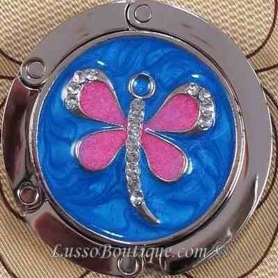 Dragonfly Handbag Holder Purse Hook Blue Pink Free Organza Bag