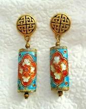 """Vintage Cloisonné Bead Dangle Drop Post Earrings 2"""" Gold Tone - $19.79"""