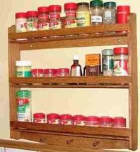 Oak Wood 3 Tier Spice Rack | 22 Inches Wide | 3 Inches Deep - £146.61 GBP