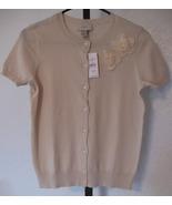 Ann Taylor LOFT Petite Small Cardigan Sweater Short Sleeves Buff Ivory Flower Ac - $28.00