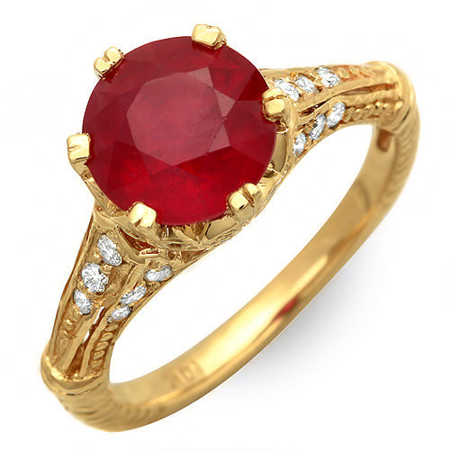 Estate ring 3.75 ct natural ruby and diamond 14k gold