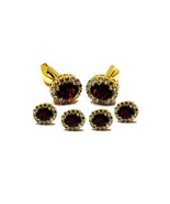 925 Sterling Silver Natural Garnet And Cz Gemstone Gold Plated Artistic ... - $189.99