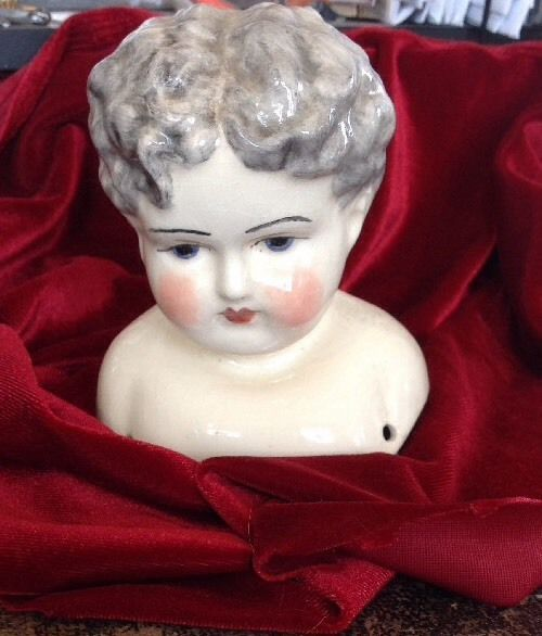 "20"" Porcelain Doll Head Vintage"