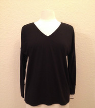 Natori Inside Out Jersey Long Sleeve Top S75059 BlackCharcoal Small Medi... - $28.00
